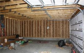 Garage inside with studs exposed