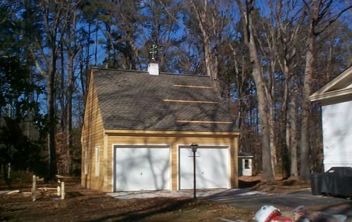 Custom built two car garage with cupola in Newport News