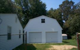 24x24 Gambrel roof custom garage from barn plans