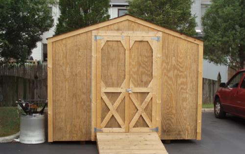 Shed 10x16 with wood finish and wooden ramp