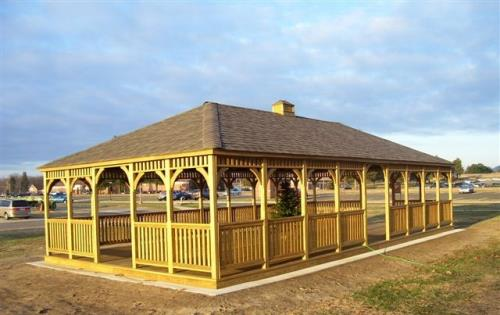 Gazebo 40x60 wood stained hip roof